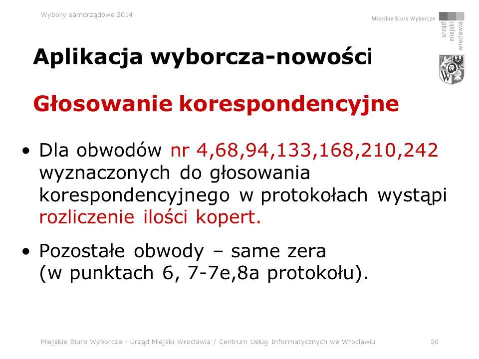 Miejskie Biuro Wyborcze - Urząd Miejski Wrocławia / Centrum Usług Informatycznych we Wrocławiu50 Wybory samorządowe 2014 Aplikacja wyborcza-nowości Dla obwodów nr 4,68,94,133,168,210,242 wyznaczonych do głosowania korespondencyjnego w protokołach wystąpi rozliczenie ilości kopert.