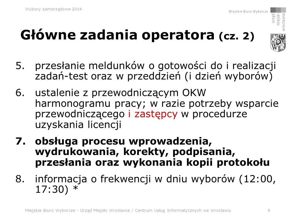 Miejskie Biuro Wyborcze - Urząd Miejski Wrocławia / Centrum Usług Informatycznych we Wrocławiu10 Wybory samorządowe 2014 Koordynator miejski Jacek Kilian kom.