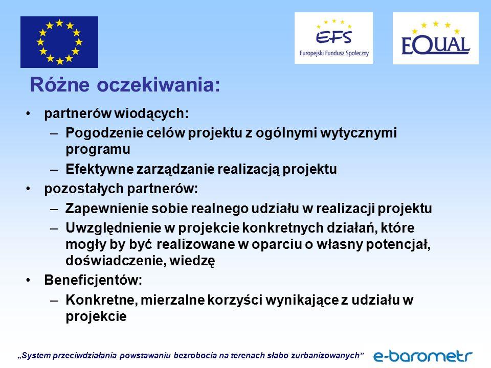 """""""System przeciwdziałania powstawaniu bezrobocia na terenach słabo zurbanizowanych Różne oczekiwania: partnerów wiodących: –Pogodzenie celów projektu z ogólnymi wytycznymi programu –Efektywne zarządzanie realizacją projektu pozostałych partnerów: –Zapewnienie sobie realnego udziału w realizacji projektu –Uwzględnienie w projekcie konkretnych działań, które mogły by być realizowane w oparciu o własny potencjał, doświadczenie, wiedzę Beneficjentów: –Konkretne, mierzalne korzyści wynikające z udziału w projekcie"""