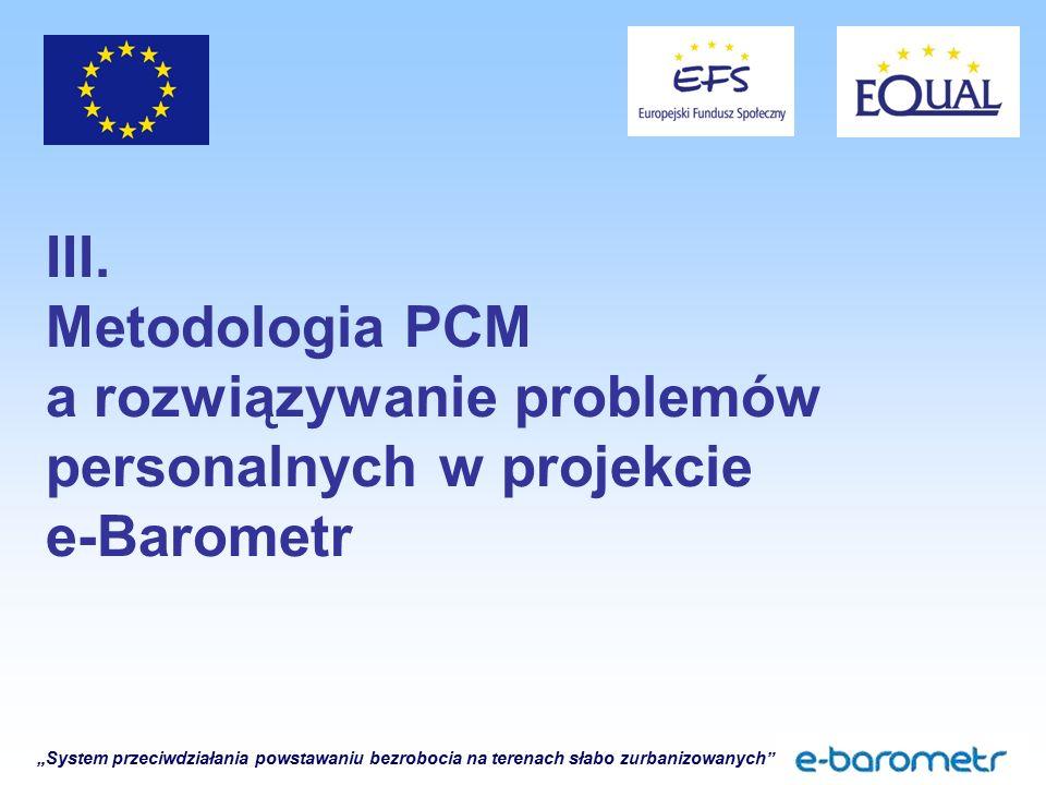 """""""System przeciwdziałania powstawaniu bezrobocia na terenach słabo zurbanizowanych"""" III. Metodologia PCM a rozwiązywanie problemów personalnych w proje"""