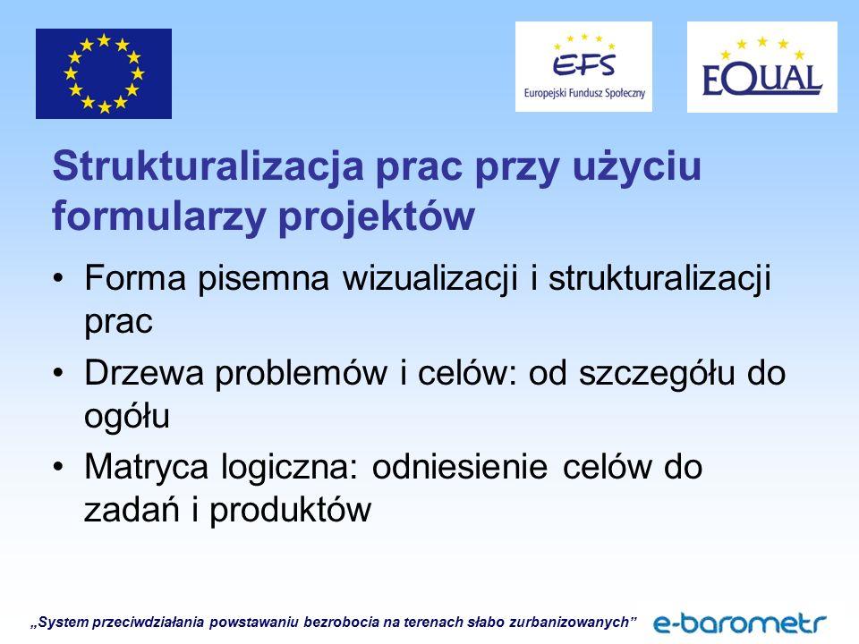 """""""System przeciwdziałania powstawaniu bezrobocia na terenach słabo zurbanizowanych"""" Strukturalizacja prac przy użyciu formularzy projektów Forma pisemn"""