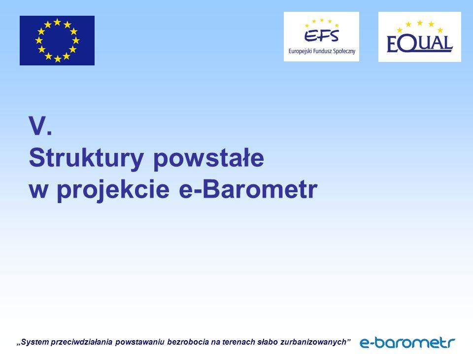 """""""System przeciwdziałania powstawaniu bezrobocia na terenach słabo zurbanizowanych"""" V. Struktury powstałe w projekcie e-Barometr"""