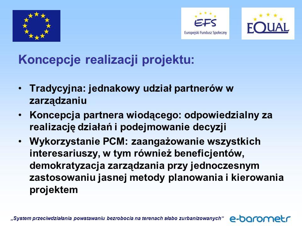 """""""System przeciwdziałania powstawaniu bezrobocia na terenach słabo zurbanizowanych Koncepcje realizacji projektu: Tradycyjna: jednakowy udział partnerów w zarządzaniu Koncepcja partnera wiodącego: odpowiedzialny za realizację działań i podejmowanie decyzji Wykorzystanie PCM: zaangażowanie wszystkich interesariuszy, w tym również beneficjentów, demokratyzacja zarządzania przy jednoczesnym zastosowaniu jasnej metody planowania i kierowania projektem"""