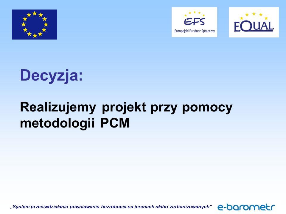 """""""System przeciwdziałania powstawaniu bezrobocia na terenach słabo zurbanizowanych Decyzja: Realizujemy projekt przy pomocy metodologii PCM"""