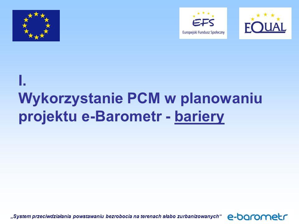"""""""System przeciwdziałania powstawaniu bezrobocia na terenach słabo zurbanizowanych"""" I. Wykorzystanie PCM w planowaniu projektu e-Barometr - bariery"""