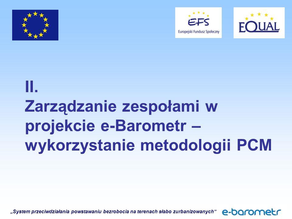 """""""System przeciwdziałania powstawaniu bezrobocia na terenach słabo zurbanizowanych"""" II. Zarządzanie zespołami w projekcie e-Barometr – wykorzystanie me"""