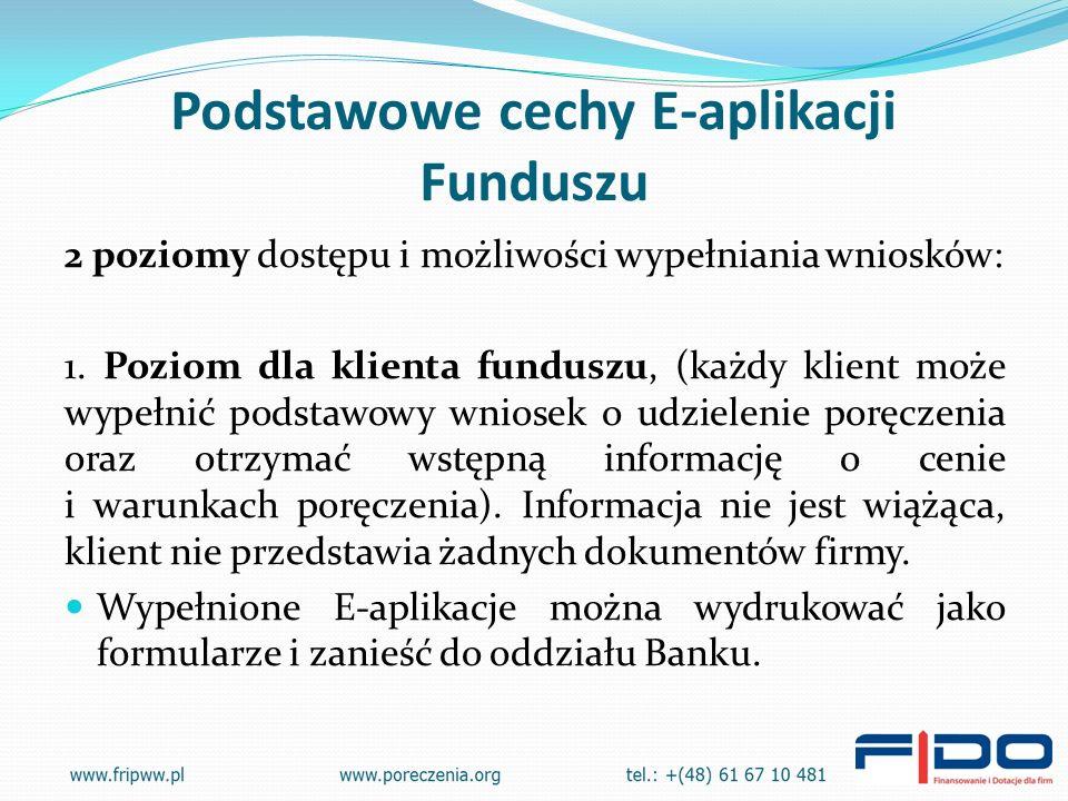 Podstawowe cechy E-aplikacji Funduszu 2 poziomy dostępu i możliwości wypełniania wniosków: 1.