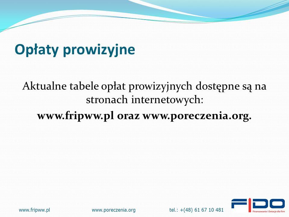 Opłaty prowizyjne Aktualne tabele opłat prowizyjnych dostępne są na stronach internetowych: www.fripww.pl oraz www.poreczenia.org.
