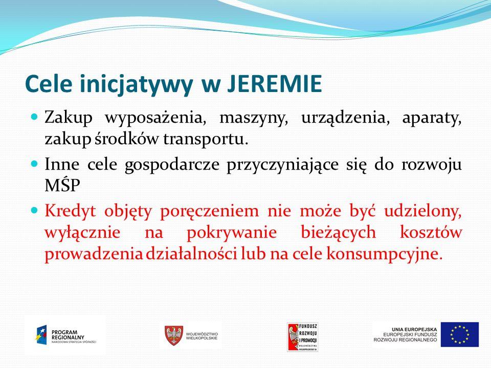 Cele inicjatywy w JEREMIE Zakup wyposażenia, maszyny, urządzenia, aparaty, zakup środków transportu.