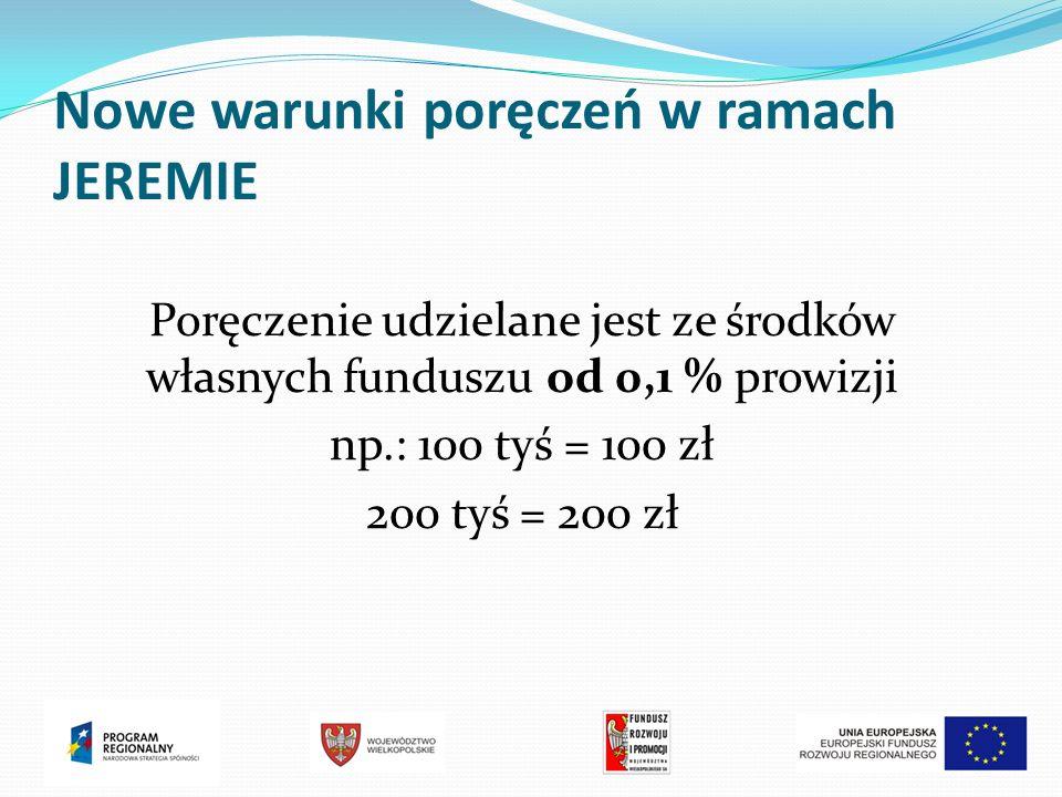 Nowe warunki poręczeń w ramach JEREMIE Poręczenie udzielane jest ze środków własnych funduszu od 0,1 % prowizji np.: 100 tyś = 100 zł 200 tyś = 200 zł
