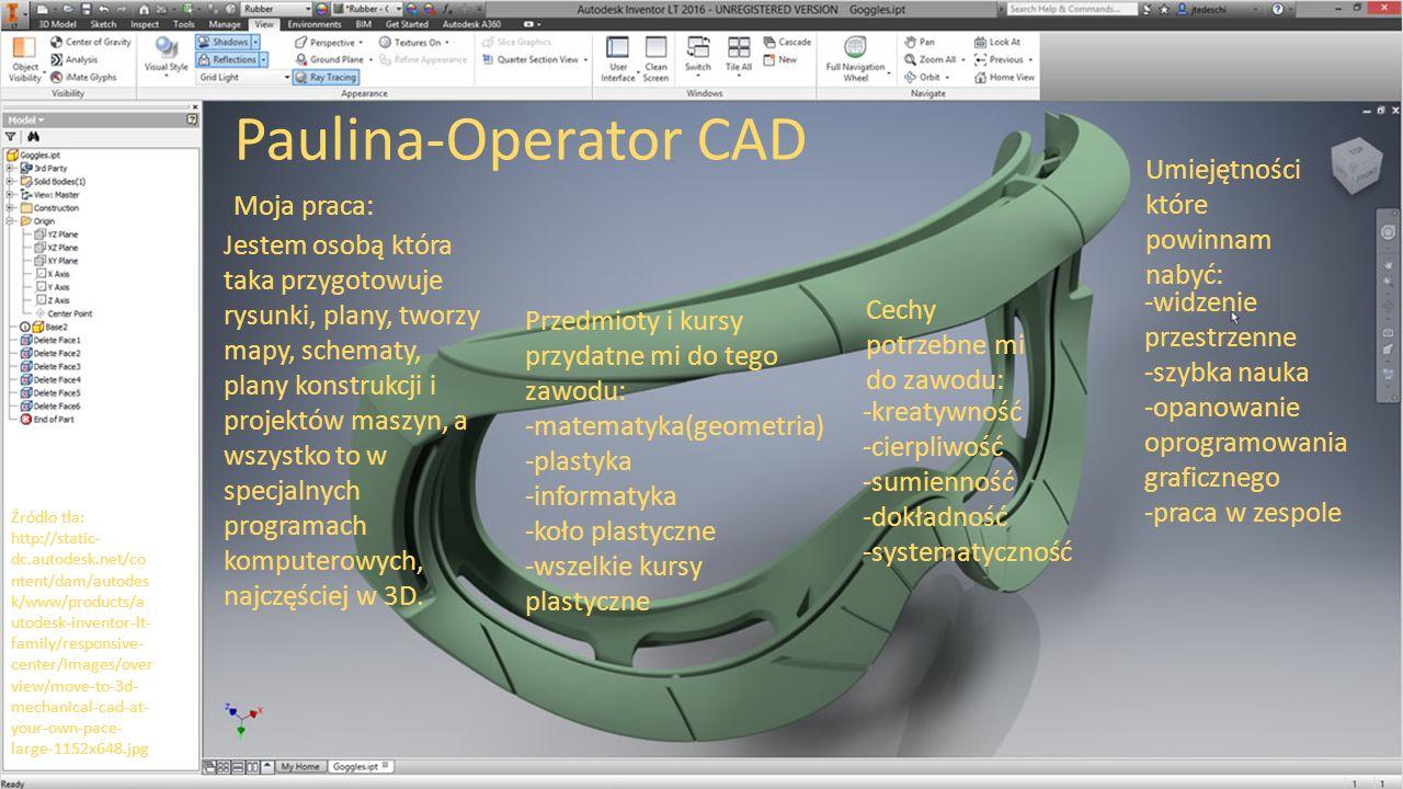Cechy potrzebne mi do zawodu: -kreatywność -cierpliwość -sumienność -dokładność -systematyczność Paulina-Operator CAD Umiejętności które powinnam naby