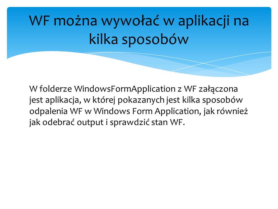 W folderze WindowsFormApplication z WF załączona jest aplikacja, w której pokazanych jest kilka sposobów odpalenia WF w Windows Form Application, jak
