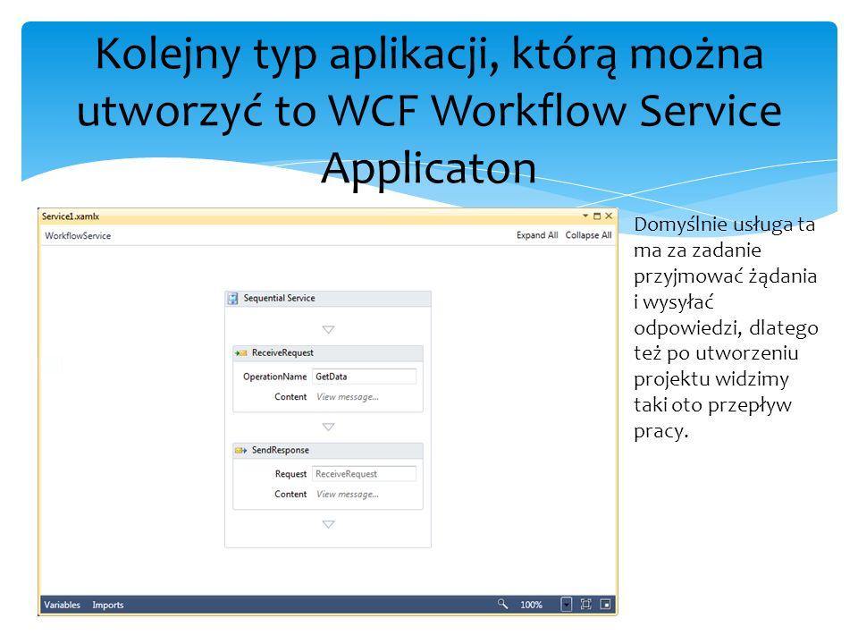 Kolejny typ aplikacji, którą można utworzyć to WCF Workflow Service Applicaton Domyślnie usługa ta ma za zadanie przyjmować żądania i wysyłać odpowied