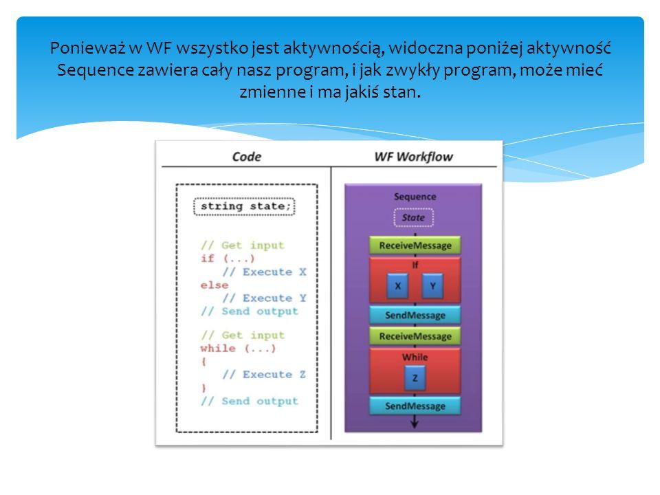Ponieważ w WF wszystko jest aktywnością, widoczna poniżej aktywność Sequence zawiera cały nasz program, i jak zwykły program, może mieć zmienne i ma j
