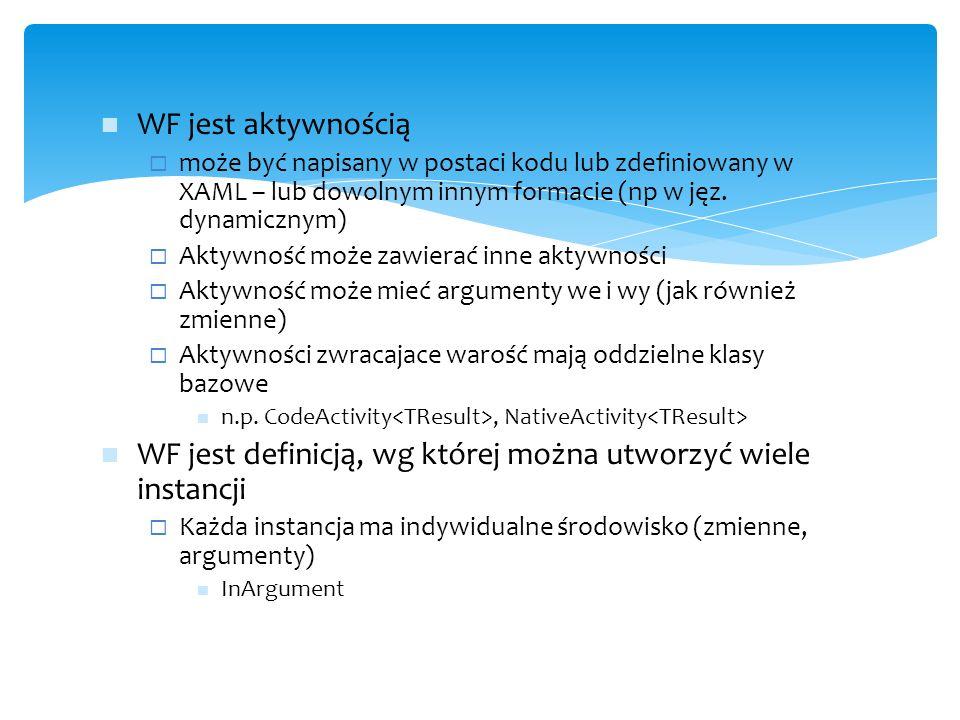 WF jest aktywnością  może być napisany w postaci kodu lub zdefiniowany w XAML – lub dowolnym innym formacie (np w jęz. dynamicznym)  Aktywność może