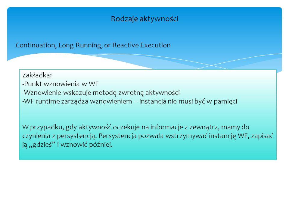 Tworzenie własnych aktywności W folderze Własne Aktywności dołączona jest aplikacja konsolowa, w której utworzone są aktywności – jedna za pomocą Sequence, druga to Code Activity, trzecia podobna do Code Activity to NativeActivity – umożliwia zagnieżdżanie w sobie aktywności w kodzie.