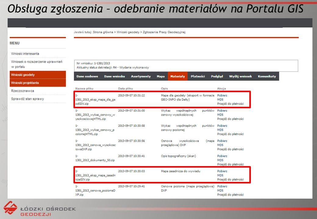 Obsługa zgłoszenia – odebranie materiałów na Portalu GIS