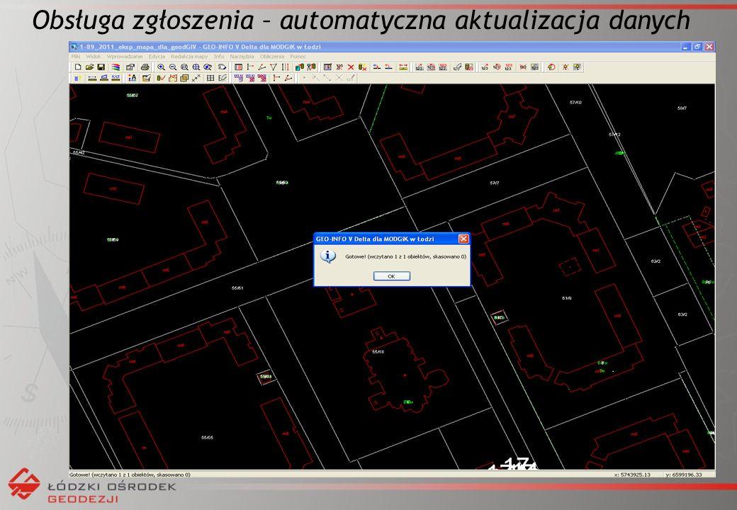 Obsługa zgłoszenia – automatyczna aktualizacja danych