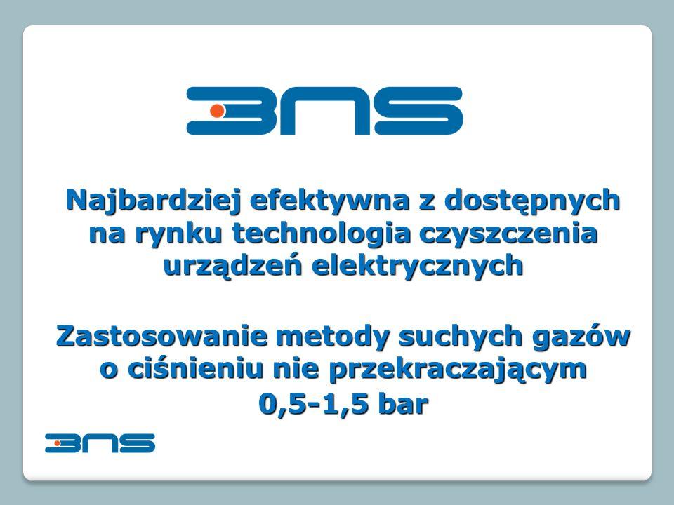 Najbardziej efektywna z dostępnych na rynku technologia czyszczenia urządzeń elektrycznych Zastosowanie metody suchych gazów o ciśnieniu nie przekraczającym 0,5-1,5 bar