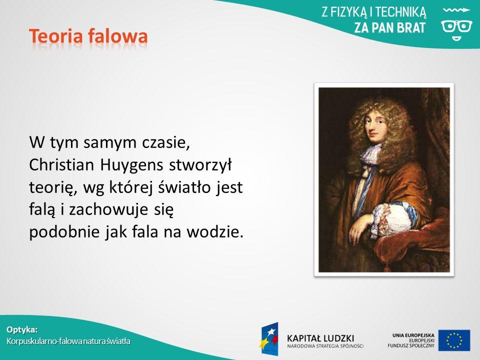 Optyka: Korpuskularno-falowa natura światła W tym samym czasie, Christian Huygens stworzył teorię, wg której światło jest falą i zachowuje się podobnie jak fala na wodzie.
