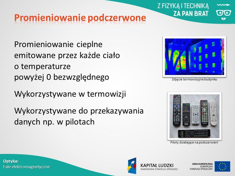 Optyka: Fale elektromagnetyczne Promieniowanie cieplne emitowane przez każde ciało o temperaturze powyżej 0 bezwzględnego Wykorzystywane w termowizji Wykorzystywane do przekazywania danych np.