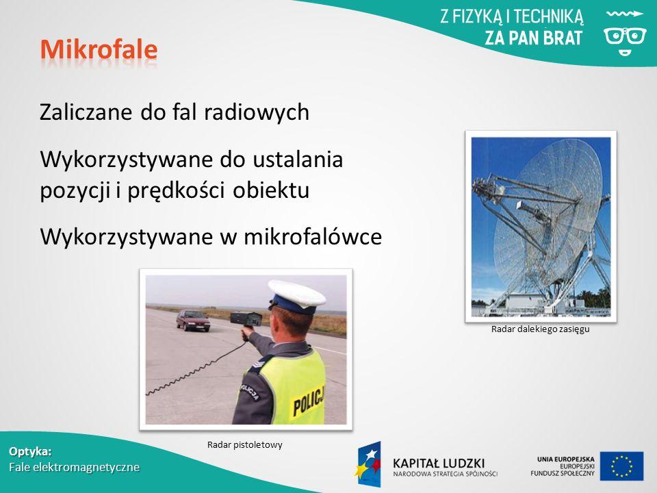 Optyka: Fale elektromagnetyczne Zaliczane do fal radiowych Wykorzystywane do ustalania pozycji i prędkości obiektu Wykorzystywane w mikrofalówce Radar dalekiego zasięgu Radar pistoletowy