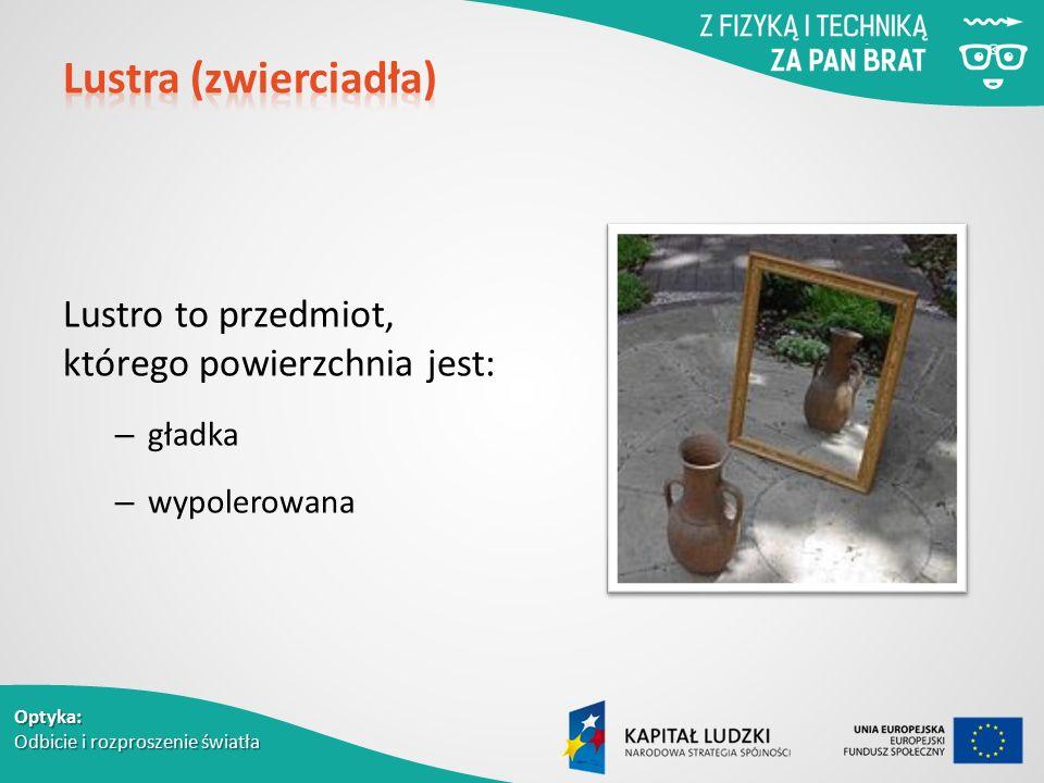 Optyka: Odbicie i rozproszenie światła Lustro to przedmiot, którego powierzchnia jest: – gładka – wypolerowana