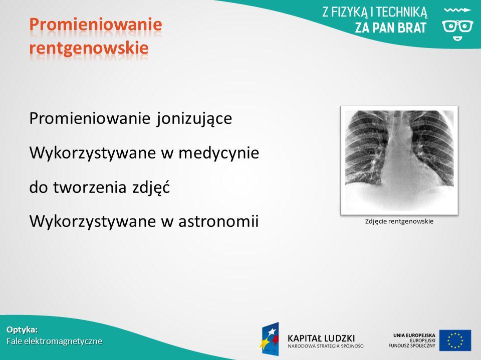 Optyka: Fale elektromagnetyczne Promieniowanie jonizujące Wykorzystywane w medycynie do tworzenia zdjęć Wykorzystywane w astronomii Zdjęcie rentgenowskie
