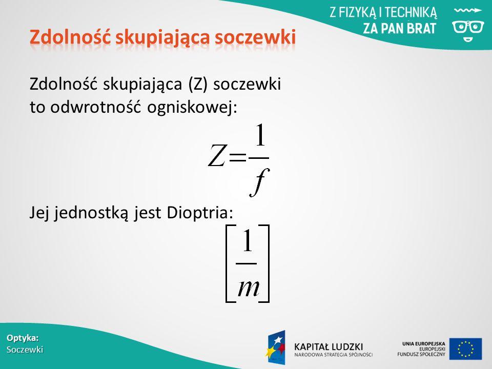 Optyka: Soczewki Zdolność skupiająca (Z) soczewki to odwrotność ogniskowej: Jej jednostką jest Dioptria: