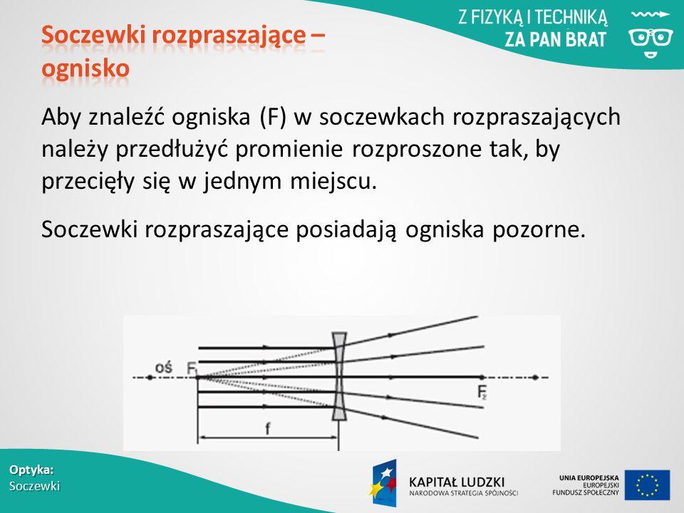 Optyka: Soczewki Aby znaleźć ogniska (F) w soczewkach rozpraszających należy przedłużyć promienie rozproszone tak, by przecięły się w jednym miejscu.