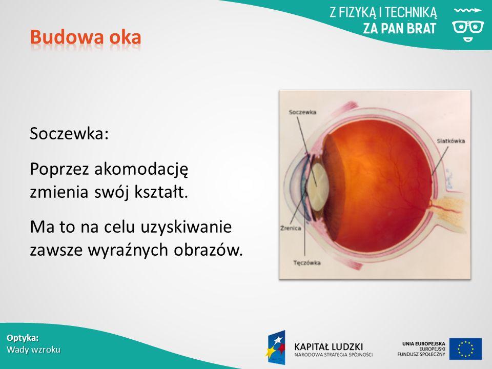 Optyka: Wady wzroku Soczewka: Poprzez akomodację zmienia swój kształt.