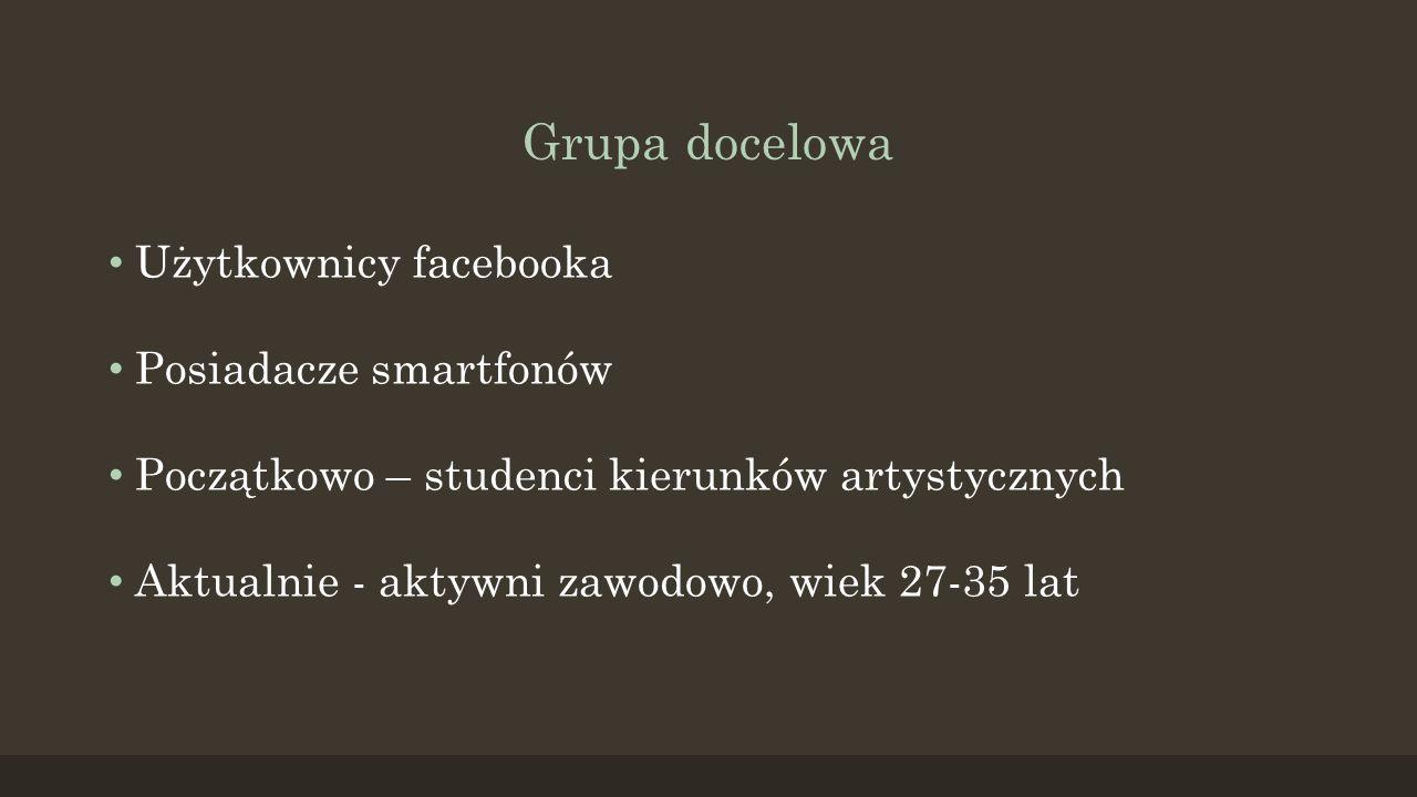 Grupa docelowa Użytkownicy facebooka Posiadacze smartfonów Początkowo – studenci kierunków artystycznych Aktualnie - aktywni zawodowo, wiek 27-35 lat