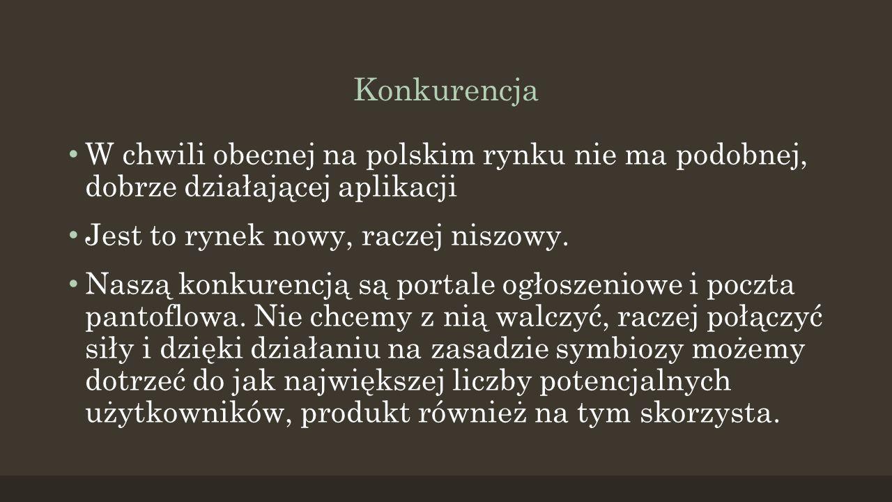 Konkurencja W chwili obecnej na polskim rynku nie ma podobnej, dobrze działającej aplikacji Jest to rynek nowy, raczej niszowy.