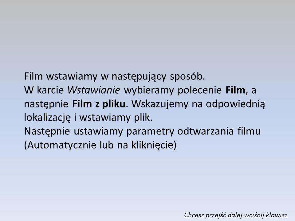 WSTAWIANIE FILMÓW Aby uatrakcyjnić i wzbogacić treściowo swoją prezentację możesz wstawić film, jako jedno z multimediów.