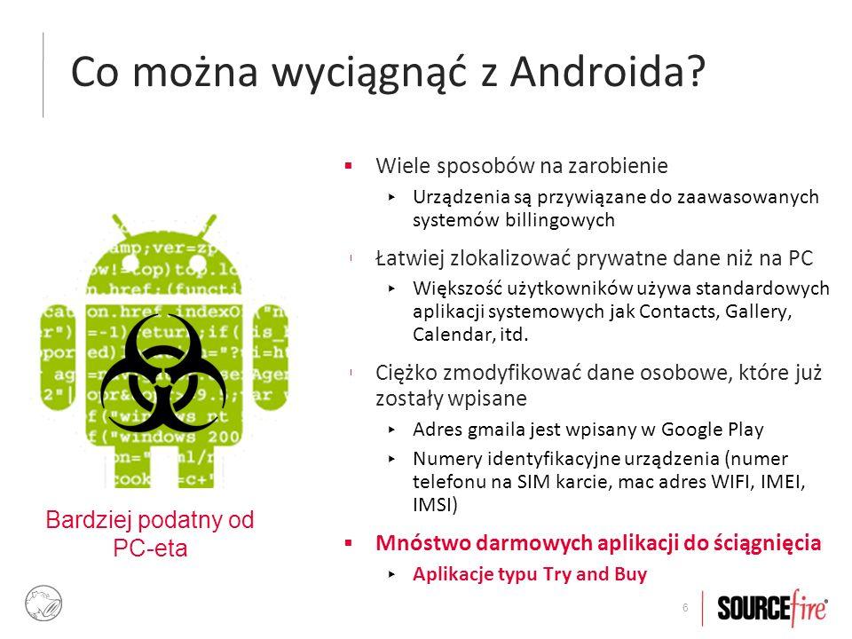 7 Wciskanie 'droida' w Androida  86% malware'u dostaje się poprzez koszerne aplikacje, które zostały zainfekowane, ponownie spakowane i podpisane certyfikatem 'self-signed'  36.7% wykorzystuje exploity na roota  90% zmienia urządzenia w botnetowe zombie (np.