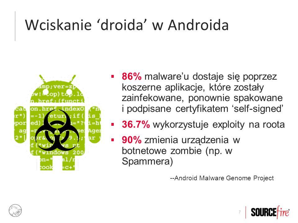 18  Dystrybucja aplikacji na Andrioda nie posiada zcentralizowanego kanału dystrybucji – paczki z aplikacjami można ściągać z dowolnych źródeł  Aby zainstalować aplikację z innego źródła niż Google Play, funkcja ściągania paczek z nieznanych źródeł musi być włączona: Unknown sources .