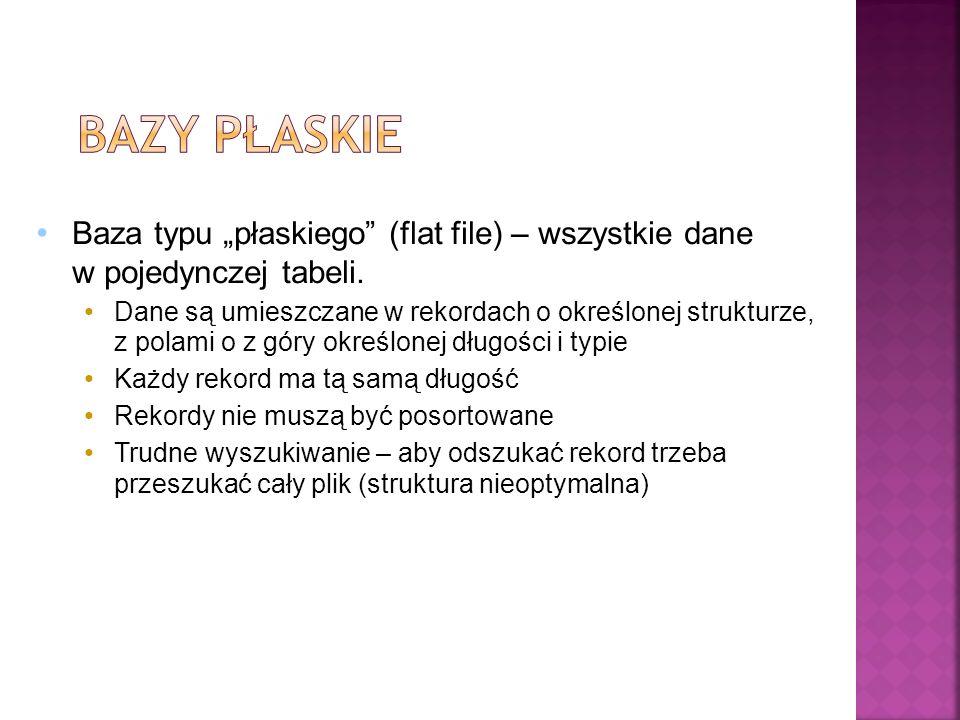"""Baza typu """"płaskiego (flat file) – wszystkie dane w pojedynczej tabeli."""