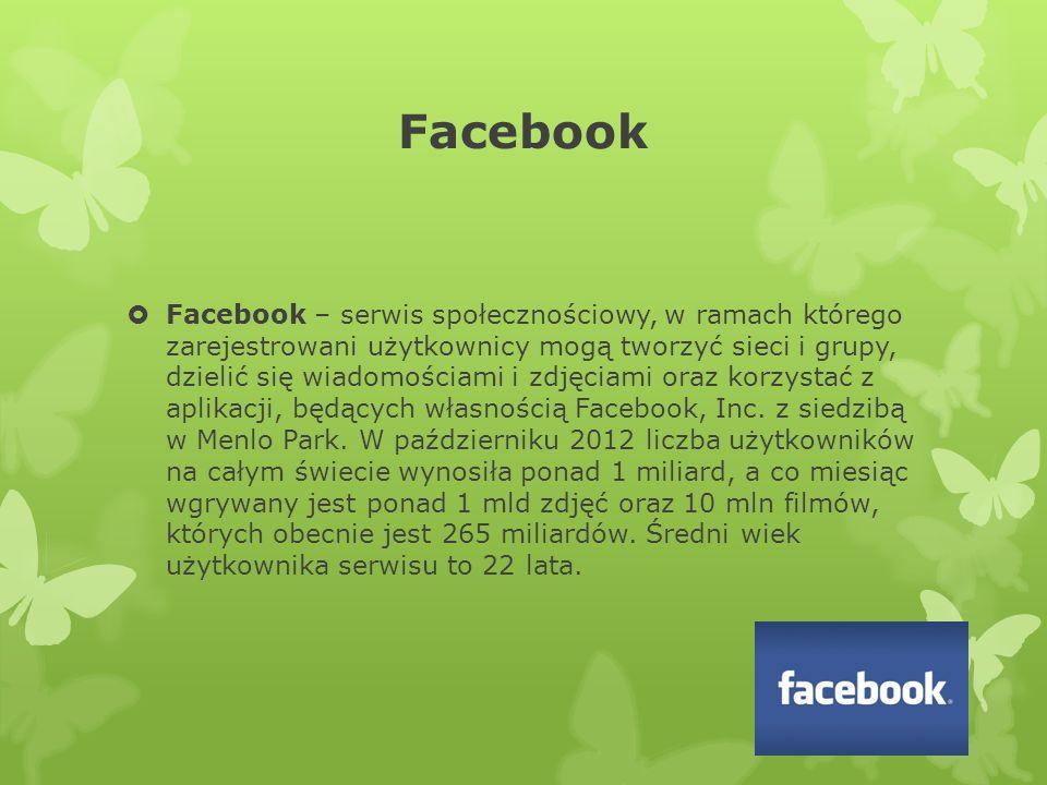 Facebook  Facebook – serwis społecznościowy, w ramach którego zarejestrowani użytkownicy mogą tworzyć sieci i grupy, dzielić się wiadomościami i zdjęciami oraz korzystać z aplikacji, będących własnością Facebook, Inc.