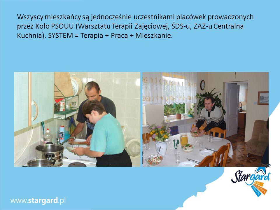 Wszyscy mieszkańcy są jednocześnie uczestnikami placówek prowadzonych przez Koło PSOUU (Warsztatu Terapii Zajęciowej, ŚDS-u, ZAZ-u Centralna Kuchnia).