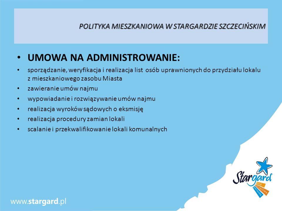POLITYKA MIESZKANIOWA W STARGARDZIE SZCZECIŃSKIM UMOWA NA ADMINISTROWANIE: sporządzanie, weryfikacja i realizacja list osób uprawnionych do przydziału