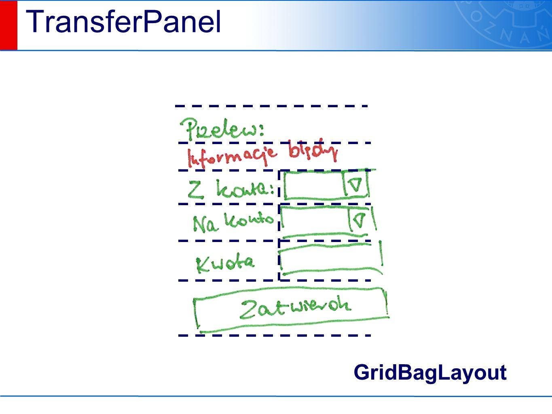 TransferPanel GridBagLayout