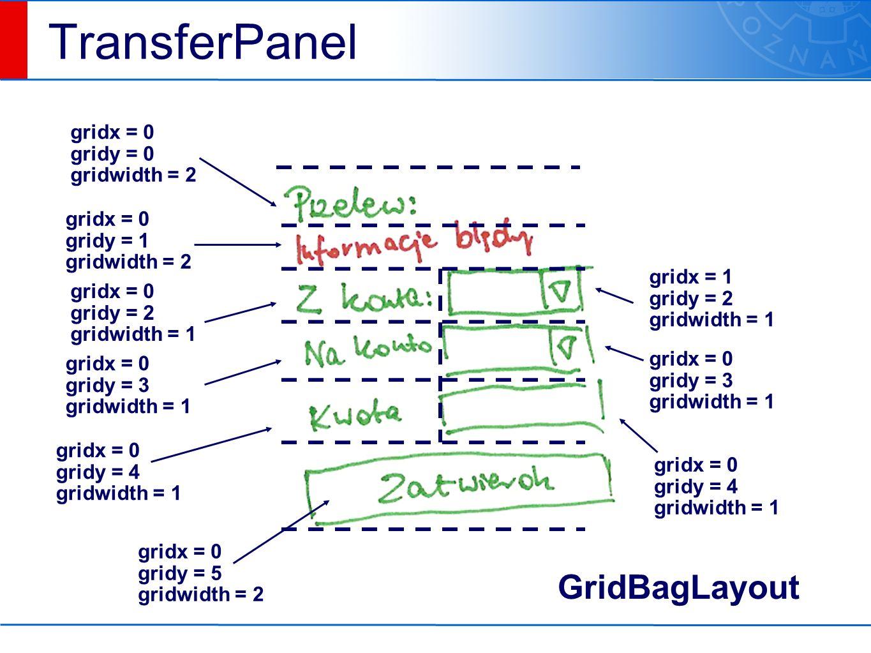 TransferPanel gridx = 0 gridy = 0 gridwidth = 2 gridx = 0 gridy = 1 gridwidth = 2 gridx = 0 gridy = 2 gridwidth = 1 gridx = 1 gridy = 2 gridwidth = 1 gridx = 0 gridy = 3 gridwidth = 1 gridx = 0 gridy = 4 gridwidth = 1 gridx = 0 gridy = 3 gridwidth = 1 gridx = 0 gridy = 4 gridwidth = 1 gridx = 0 gridy = 5 gridwidth = 2 GridBagLayout