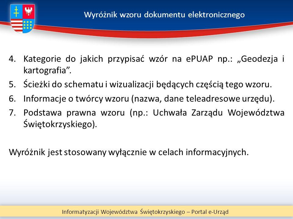 """Wyróżnik wzoru dokumentu elektronicznego 4.Kategorie do jakich przypisać wzór na ePUAP np.: """"Geodezja i kartografia"""". 5.Ścieżki do schematu i wizualiz"""