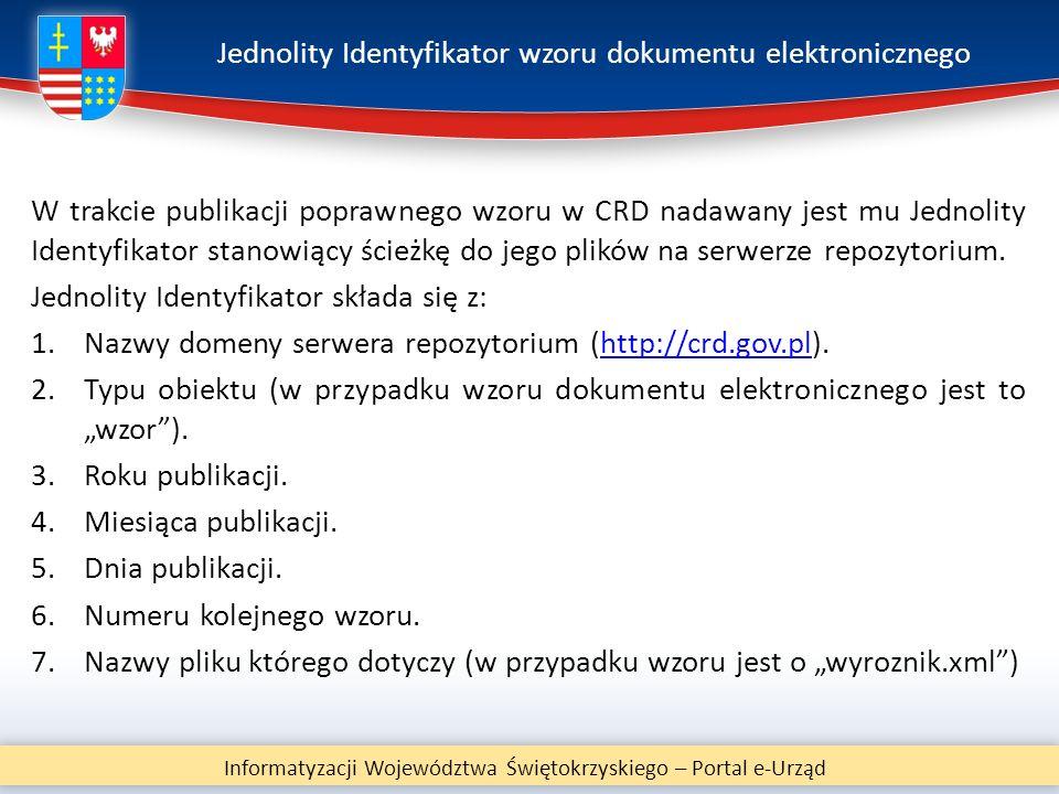 Jednolity Identyfikator wzoru dokumentu elektronicznego W trakcie publikacji poprawnego wzoru w CRD nadawany jest mu Jednolity Identyfikator stanowiąc