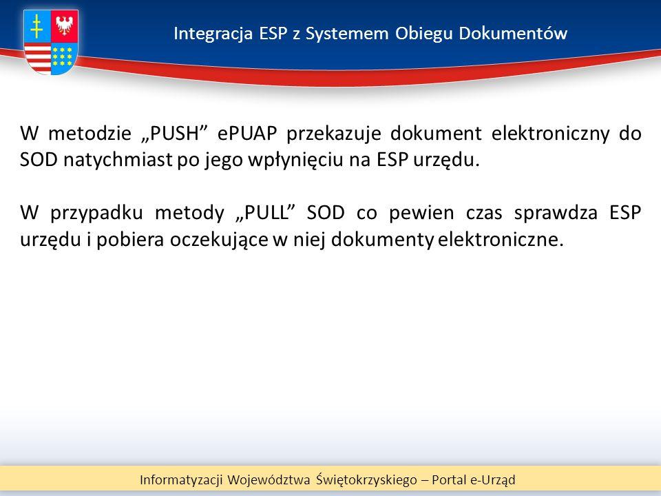 """Integracja ESP z Systemem Obiegu Dokumentów Informatyzacji Województwa Świętokrzyskiego – Portal e-Urząd W metodzie """"PUSH"""" ePUAP przekazuje dokument e"""