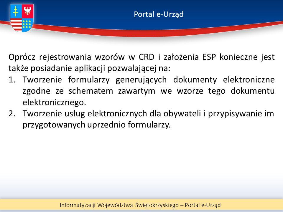 Portal e-Urząd Informatyzacji Województwa Świętokrzyskiego – Portal e-Urząd Oprócz rejestrowania wzorów w CRD i założenia ESP konieczne jest także pos