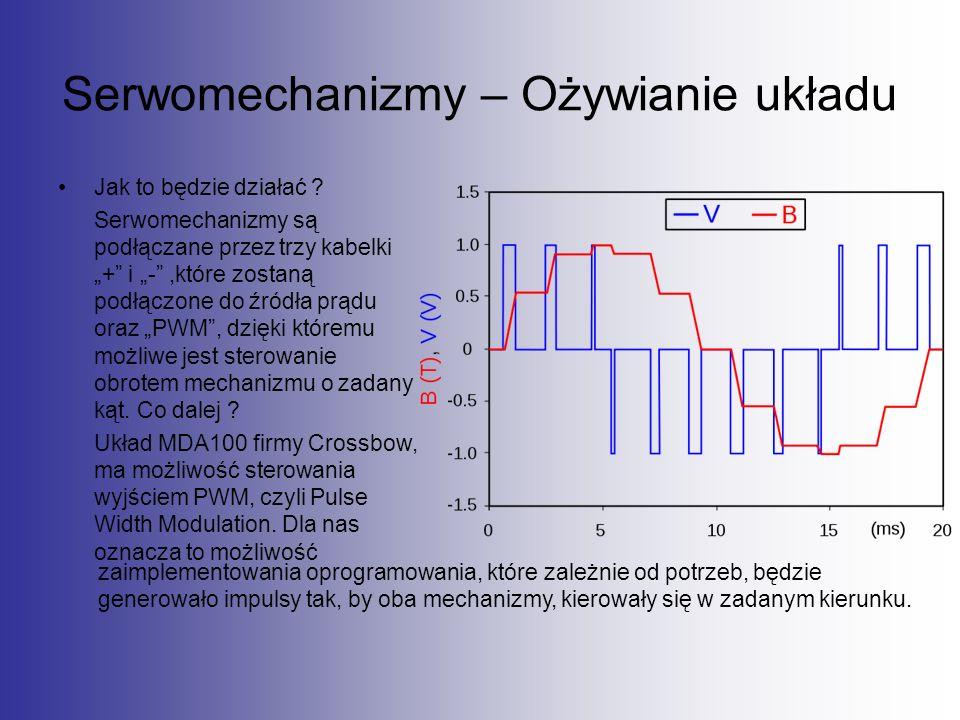 """Serwomechanizmy – Ożywianie układu Jak to będzie działać ? Serwomechanizmy są podłączane przez trzy kabelki """"+"""" i """"-"""",które zostaną podłączone do źród"""