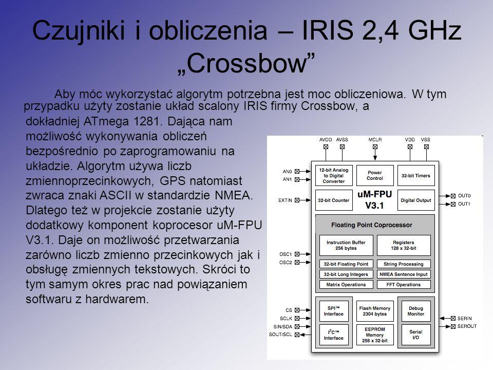 """Czujniki i obliczenia – IRIS 2,4 GHz """"Crossbow"""" Aby móc wykorzystać algorytm potrzebna jest moc obliczeniowa. W tym przypadku użyty zostanie układ sca"""