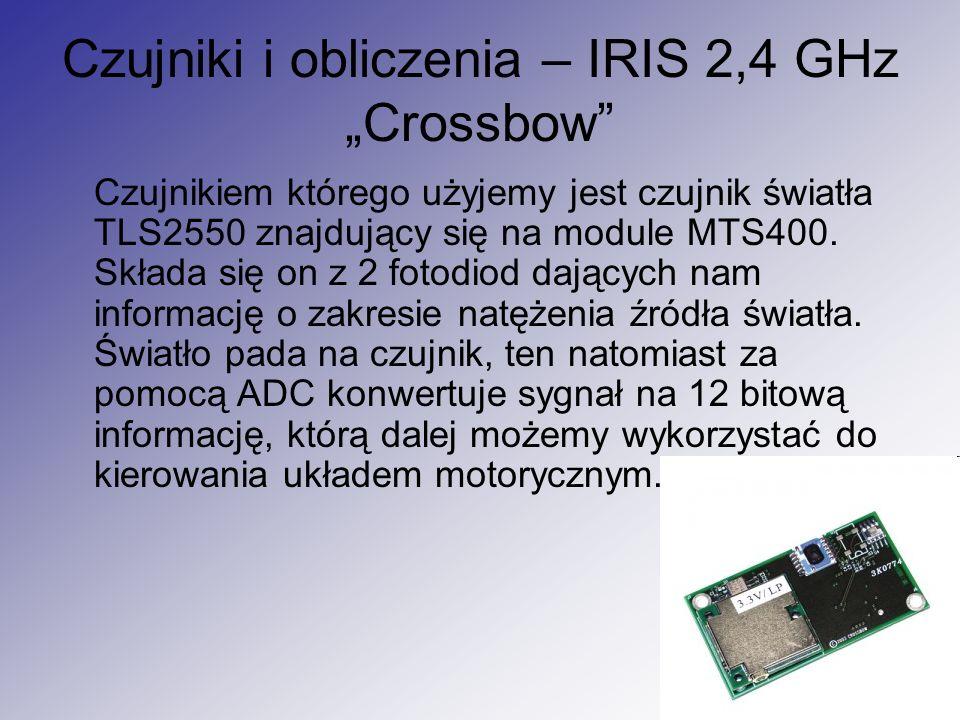 """Czujniki i obliczenia – IRIS 2,4 GHz """"Crossbow"""" Czujnikiem którego użyjemy jest czujnik światła TLS2550 znajdujący się na module MTS400. Składa się on"""