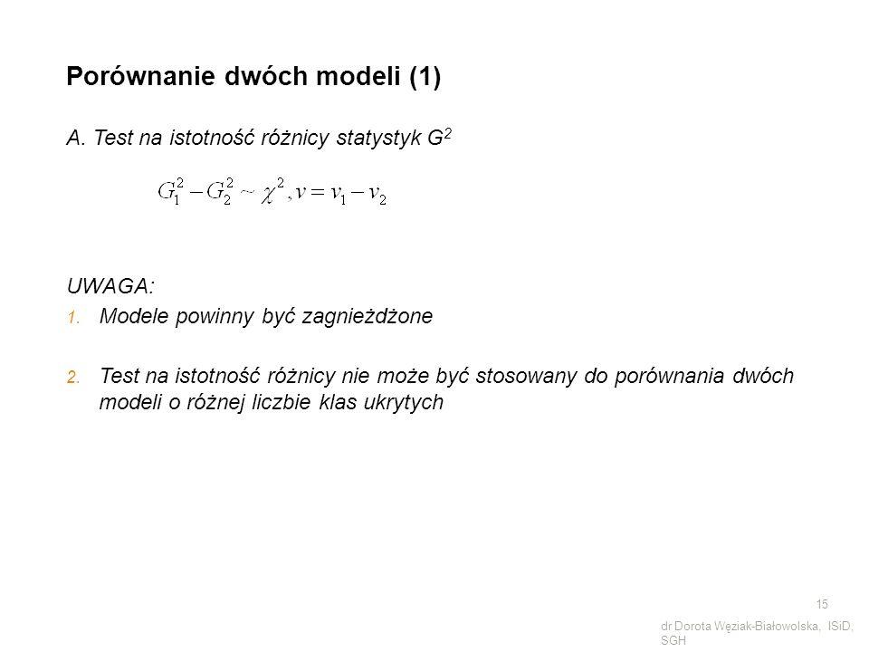 Porównanie dwóch modeli (1) A. Test na istotność różnicy statystyk G 2 UWAGA: 1. Modele powinny być zagnieżdżone 2. Test na istotność różnicy nie może